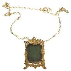 Art Nouveau French Glassed Pendant Chain Necklace c.1900