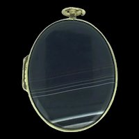 Victorian Style Banded Agate Locket Pendant c.1890