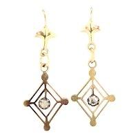 Vintage Gold 9CT Earrings Paste Stones Dainty Beautiful