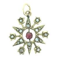 Edwardian Pendant Garnet Split Seed Pearls Gold 9CT Snow Flake