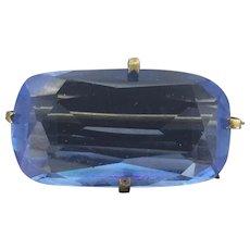 Blue Faceted Czech Glass Brooch Pin Beautiful Original 1920