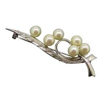 Vintage Sterling Hallmarked Cultured Pearls Brooch Pin c.1950