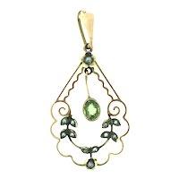 Edwardian Gold 9CT Peridot Seed Pearls Pendant Hallmarked Genuine 1900