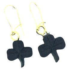 Victorian Carved Whitby Jet Lucky Clovers Gilt Earrings Adorable