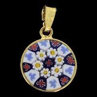 Italian Murano Glass Gold Plated Small Colourful Pendant