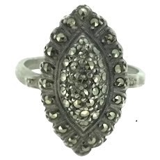Art Deco Style Solid Silver Marcasite Ring Hallmarked
