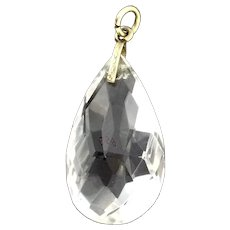 Antique Faceted Rock Crystal Pendant Substantial Gold 9CT Etched