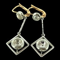 Art Deco Style French Paste Dormeuse Earrings Gold Plated C.1930