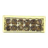 Czech Gilt Brooch Back Foiled Brown Glass Hallmarks Czech Slovakia c.1920