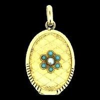 Charmaine Paris Locket Pendant Gold Plated 10K Aesthetic Blue Stones