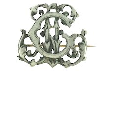 Monogram Silver 800 Continental Brooch Pin Victorian Style c.1900