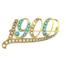 Victorian 15CT Gold Brooch Pendant Seed Pearls Turquoise Stones Dated 1900 Hallmarked