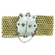 Georgian Pinchbeck Cut Steel Aesthetic Stars 6.5' Bracelet Spectacular c1800