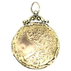 Edwardian Gold 9CT Locket Pendant Fob Aesthetic Embossed Patterns c.1900