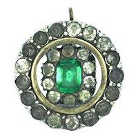 Edwardian Paste Pendant Recycled Astonishing Green White Stones  c.1905