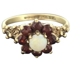Victorian Style Gold 9CT 375 Opal Garnets Ring Adorned Textured Signed Hallmarks