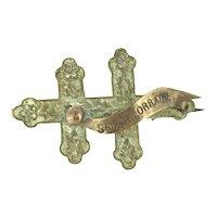 Antique Cross de St. Lorraine Costume French Brooch Pin