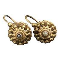 French Dormeuse Gold Filled Earrings c.1900