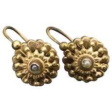 French Dormeuse Gold Filled Earrings c.1900