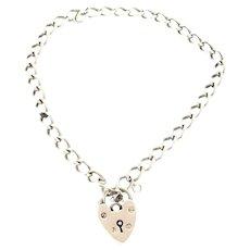 Victorian Style Silver Bracelet Heart Padlock Hallmarked 7'