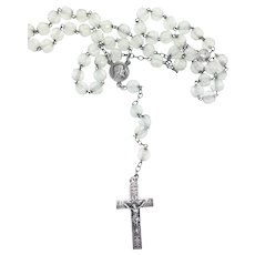 French Prayer Rosary Faceted Crystal Beads Silver Fleur Des Lys Cross c.1900