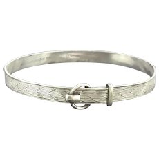Child Silver Bangle Etched Buckle Etched Signed Hallmarked Gift Idea