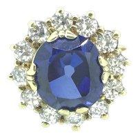 Majestic Gilt Silver Sterling Blue & White Cubic Zirconium Vintage Ring