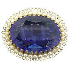 Vintage Lace Filigree Blue Faceted Glass Brooch Pin c.1960