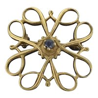 Old Gold Brooch 9CT 375 Blue Sapphire Small Dainty C.1905