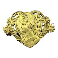 Art Nouveau Brooch Pin Signed Costume Heart Shaped