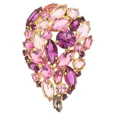 Statement Costume Pink Brooch 1950s Large Open Works