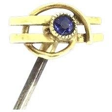 Art Deco Design Gold 15CT Sapphire Stick Pin Elegance Hallmarked