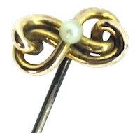 Edwardian 9CT Gold Stick Pin Seed Pearl Elegant Infinity Design Hallmarked