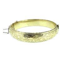 Edwardian Rolled Gold Hallmarked Embossed Hinged Bracelet Bangle c.1900
