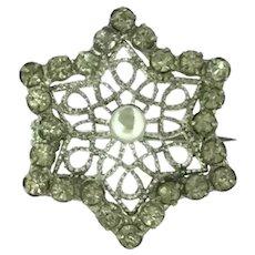 Small Star Filigree Paste Brooch Pin Silver Edwardian c.1910
