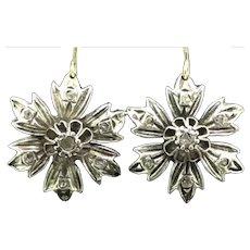 Georgian Old Mine Cut Diamond Earrings Silver Gold 9CT Ear Wires Flowers 1800