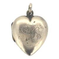 Edwardian Heart Gold Locket Pendant 9CT Gold Cased Monogram ML c.1900