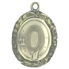 Mourning Aesthetic Glassed Pendant Charm Fob Buckle Victorian Gilt C.1800