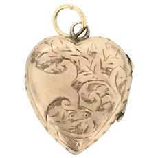 Victorian Gold Locket Pendant Embossed Heart Hallmarked Embossed c.1860