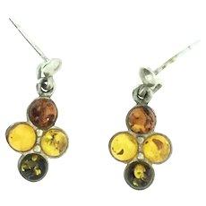 Vintage Amber Drop Earrings Pierced Silver 925 Hallmarked