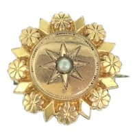 Art Nouveau French Dainty Small Brooch Gold Plated Central Star