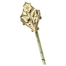 Victorian Style Gold Stick Pin Cravat Aesthetic Botanical Hallmarked Signed