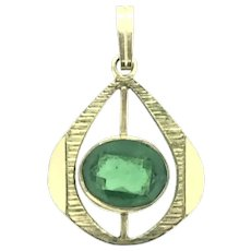 Art Deco Style Rolled Gold Green Paste Stone Pendant Hallmarked 1940