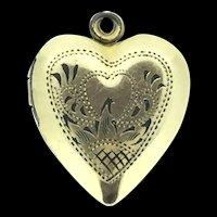 Vintage Vargas Signed Gold Filled Sterling Trimmings Heart Locket Pendant
