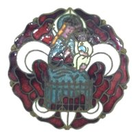 French Molten Glass Religious Brooch Costume C.1920