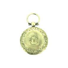 Edwardian Gold 9CT Cased Aesthetic Locket Pendant Fob Dried Flowers Original