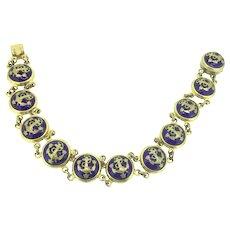 Swedish Sporrongs Bracelet Blue Enamelled Nautical Gilt Articulated Beauty