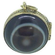 Victorian Bullseye Agate Locket Pendant Gilt Metal Adorable c.1890