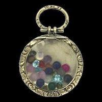 Antique Shaker Gemstones Pendant Glassed Rolled Gold Locket