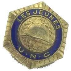 French Collectable Depose Les Jeunes Enamelled Button